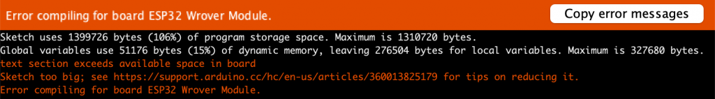 Arduino IDE - Program Too Big error