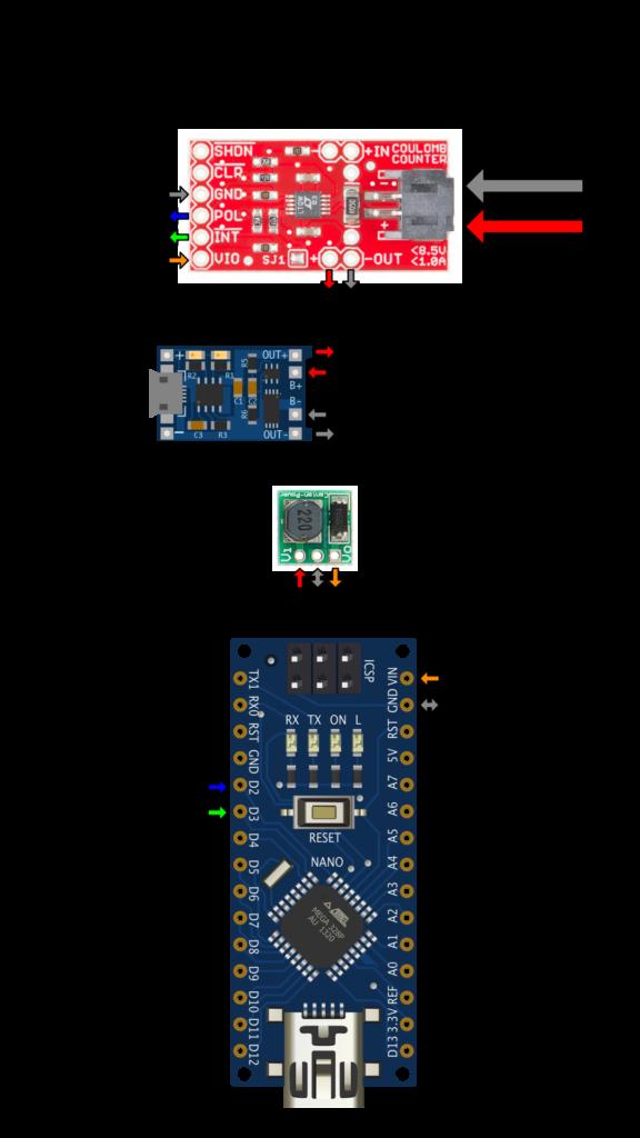 Arduino LTC4150 Wiring Diagram - Interrupt Mode