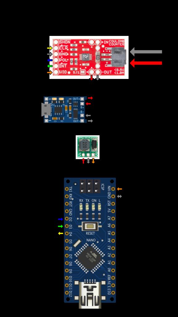 Arduino LTC4150 Wiring Diagram - Non-Interrupt Mode