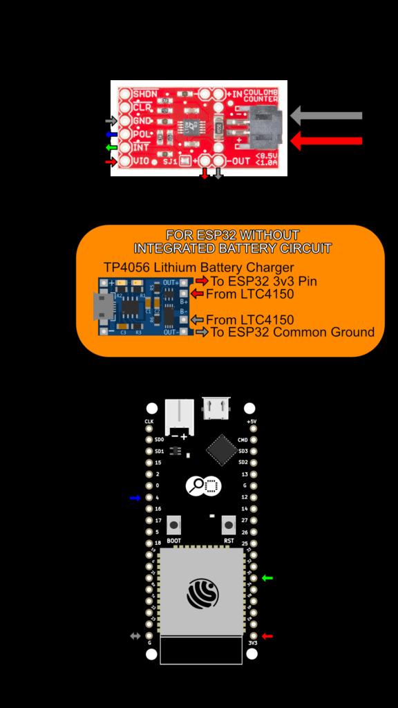 ESP32 LTC4150 Wiring Diagram - Interrupt Mode