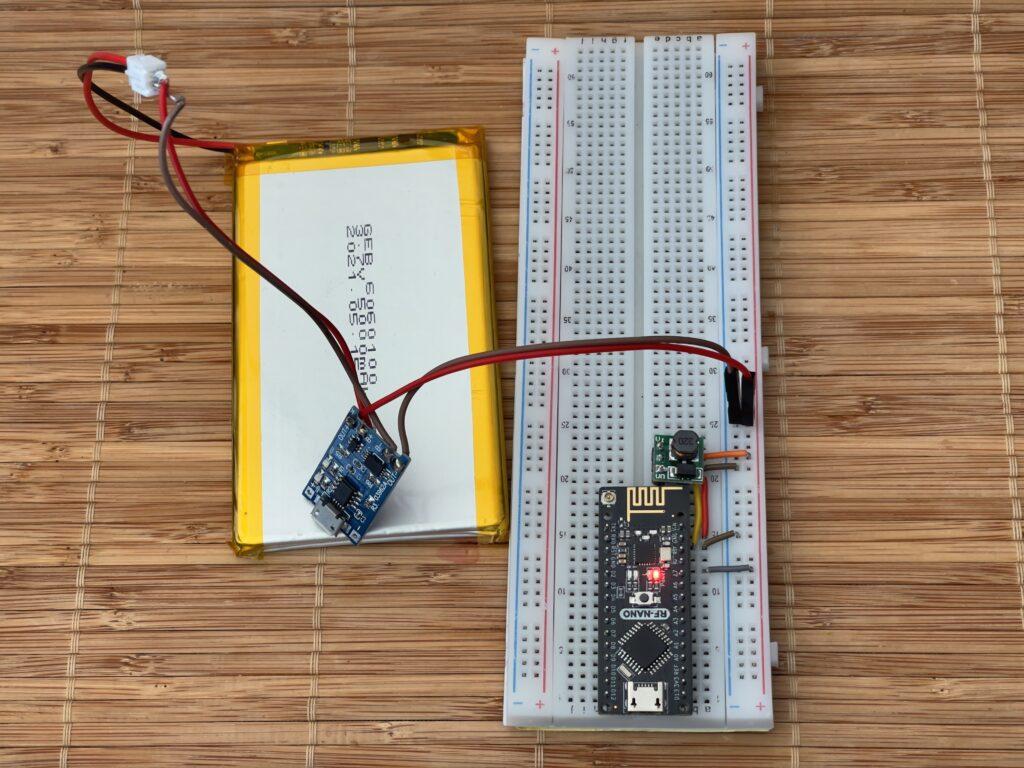 RF-Nano Arduino powered by 5000mAh Li-Po Battery