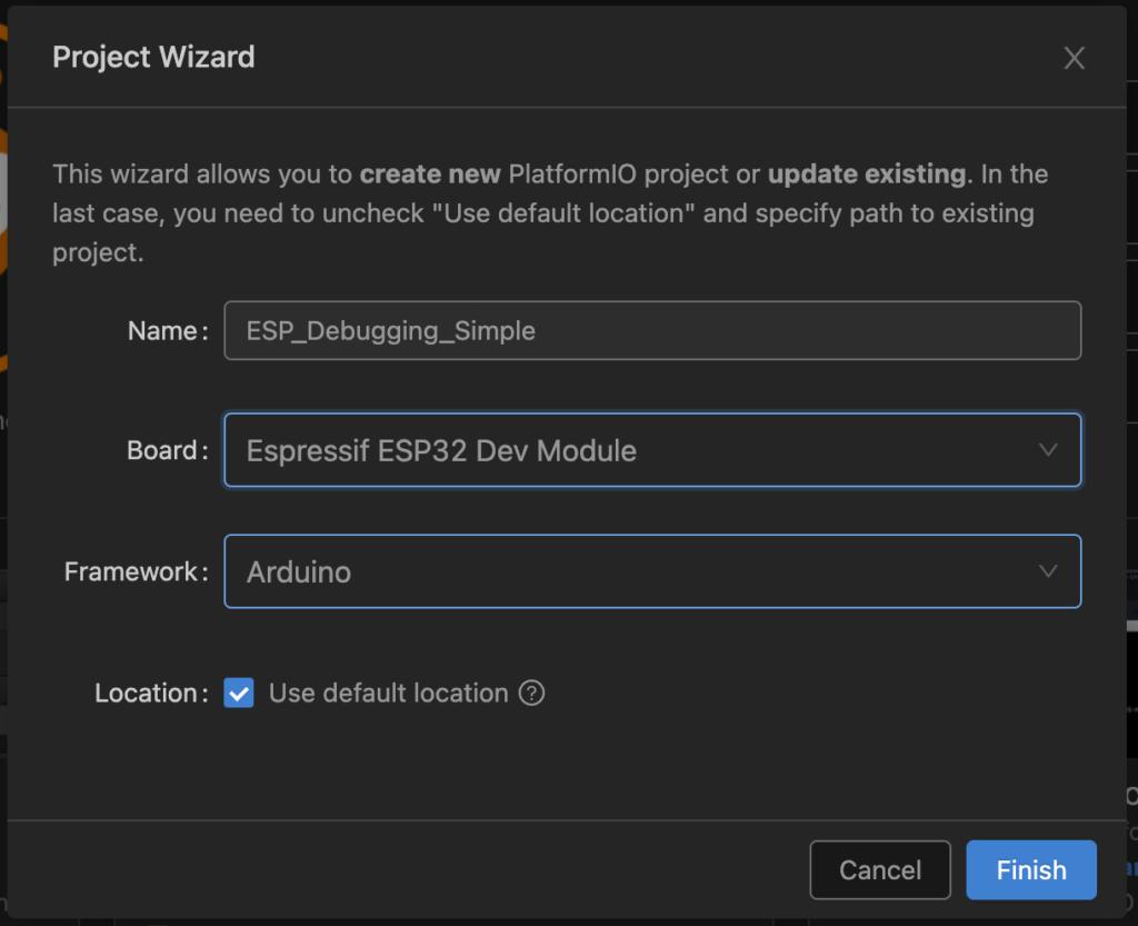 PlatformIO - New Project for ESP32