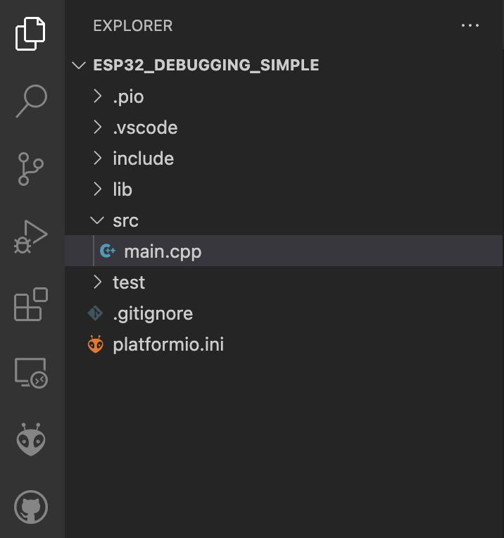 PlatformIO - Empty ESP32 Project - Workspace Tree