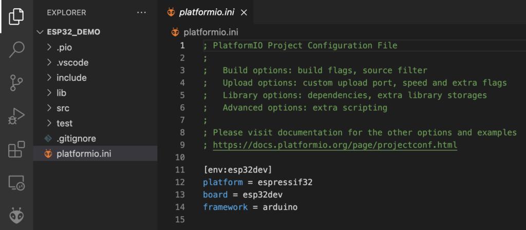 PlatformIO - ESP32 - Default ini File