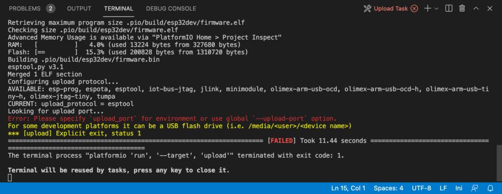PlatformIO - Flash Error