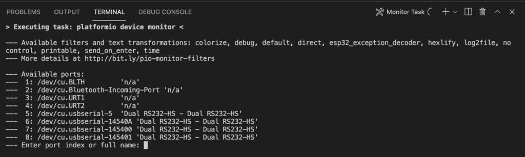 PlatformIO - Serial Monitor Prompt