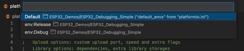 PlatformIO - Configuration Selection Menu