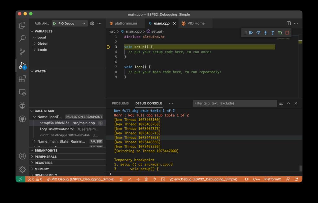 Visual Studio Code - PlatformIO - Debugger Halt on Setup()