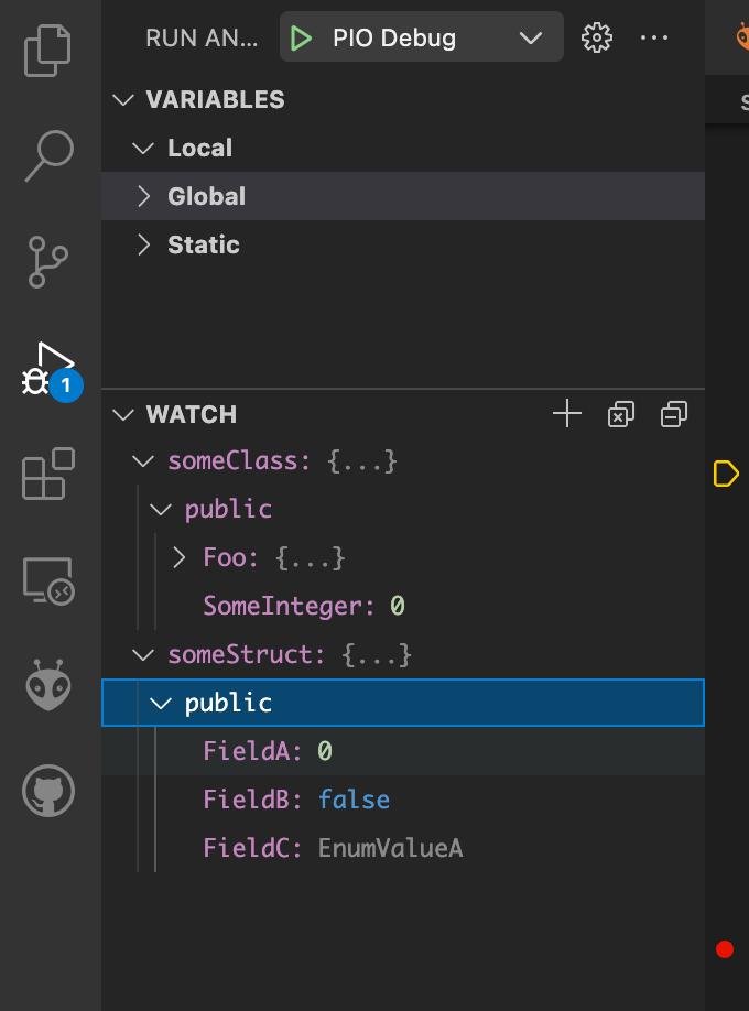 Visual Studio Code - PlatformIO - Debugging - Watch Variables