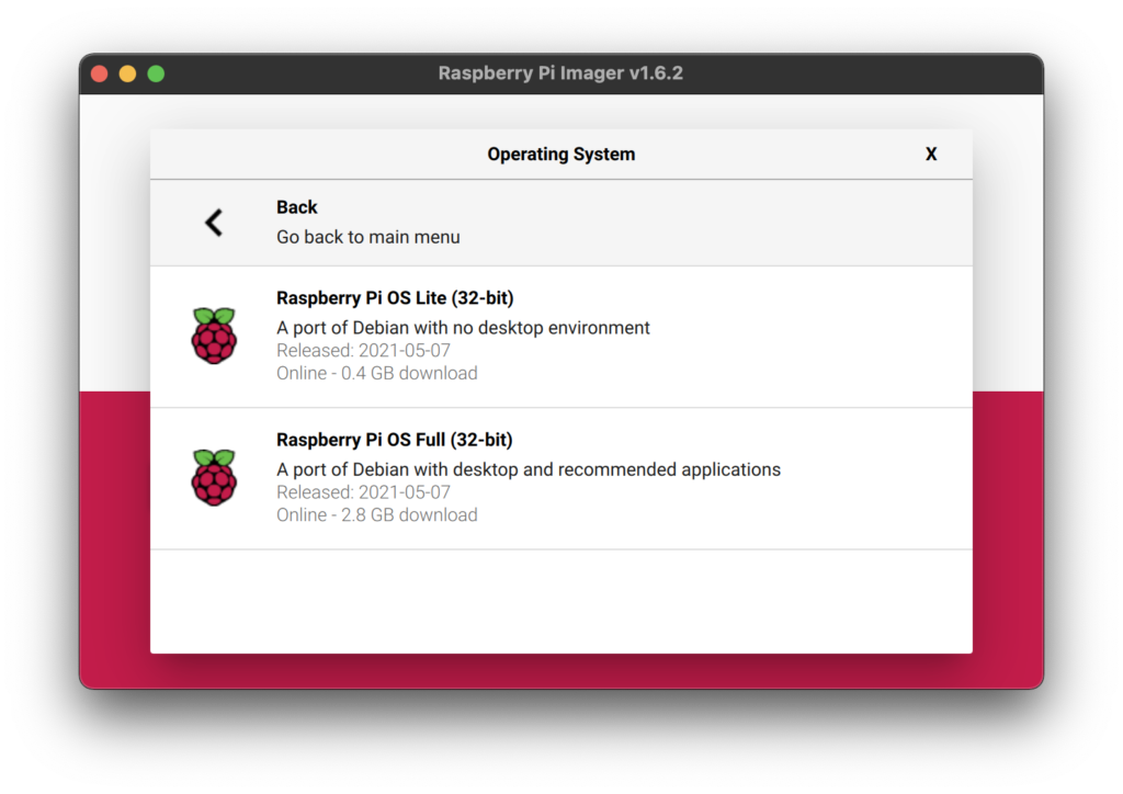 Raspberry Pi Imager Screenshot - Choose OS - Raspberry Pi OS (other) Selection