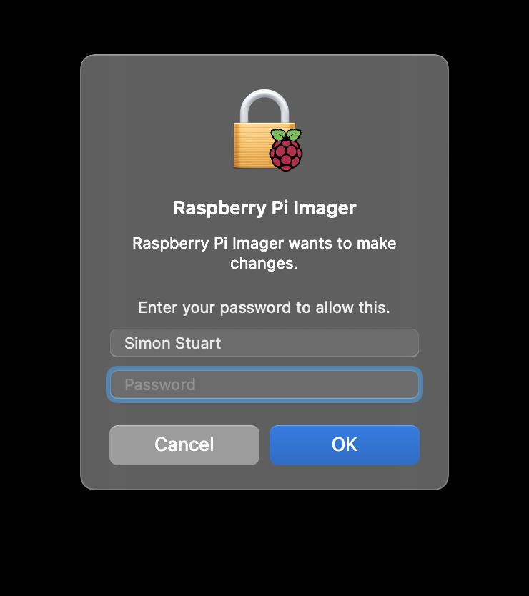 Raspberry Pi Imager Screenshot - Write - MacOS Security Confirmation